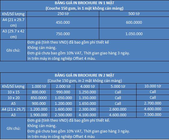 Bảng giá in brochure giá rẻ số lượng ít tphcm