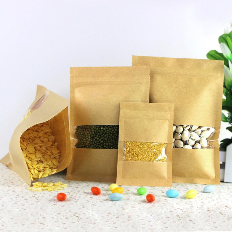 Mẫu in túi giấy đựng ngũ cốc có gia công nhựa trong để nhìn sản phẩm bên trong