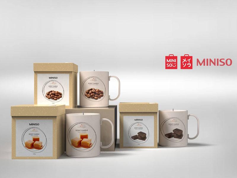Mẫu thiết kế và in bao bì, cốc đựng nến thơm quà tặng MINISO 01 | KALAPRESS.VN
