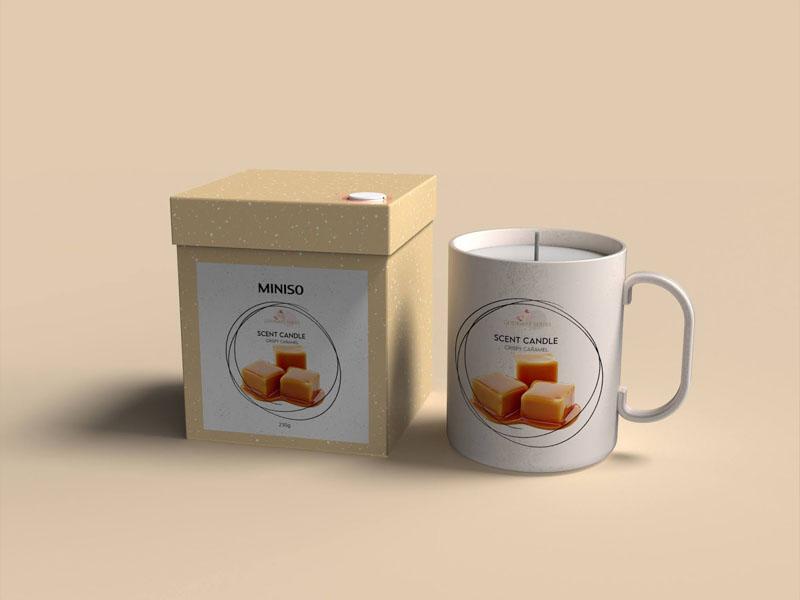 Mẫu thiết kế và in bao bì, cốc đựng nến thơm quà tặng MINISO 09 | KALAPRESS.VN