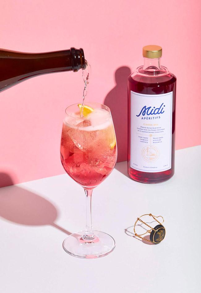 Mẫu thiết kế in ấn nhãn hiệu rượu hồng Midi Apéritifs lãng mạn 1