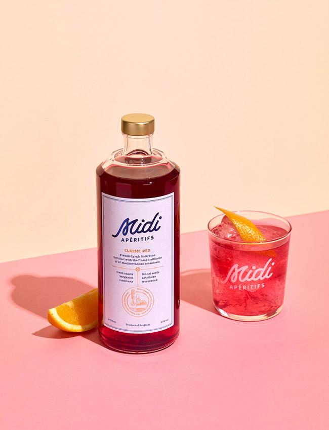 Mẫu thiết kế in ấn nhãn hiệu rượu hồng Midi Apéritifs lãng mạn 2