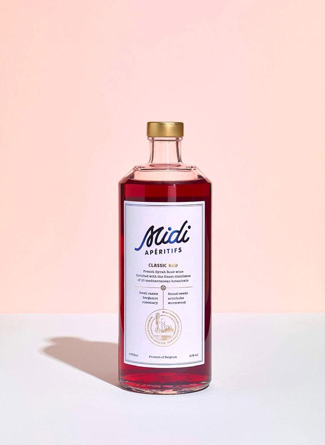 Mẫu thiết kế in ấn nhãn hiệu rượu hồng Midi Apéritifs lãng mạn 3